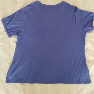 Fashion Bug Tops - FASHION BUG BLUE SHIRT WITH TEXTURED NECKLINE
